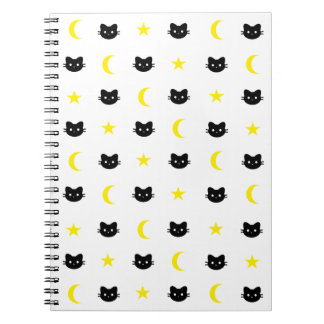 Kitty Cat Moon And Stars Notebook