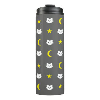Kitty Cat Moon And Stars Thermal Tumbler