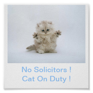 Kitty Cat No Solicitors Sign Poster