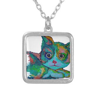 Kitty Cat Silver Plated Necklace