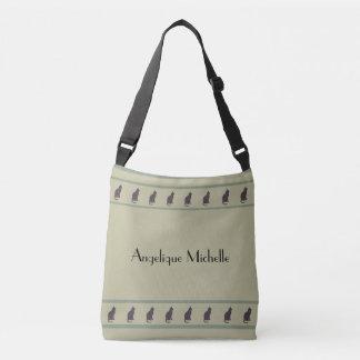 Kitty Cat Stripes on Khaki Crossbody Bag