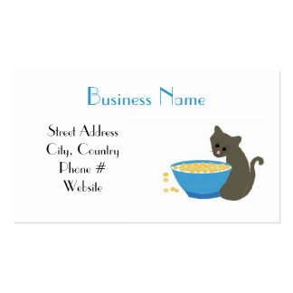 Kitty Cat with Blue Food Dish Pack Of Standard Business Cards