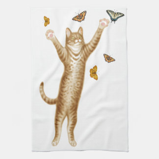 Kitty Cat with Butterflies Kitchen Towel