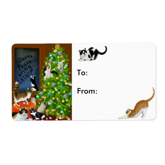 Kitty Cats Christmas Present Label Shipping Label
