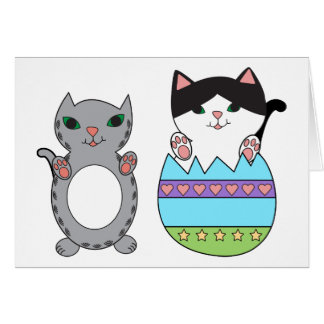 Kitty Cats Colourful Easter Egg Personalize Card