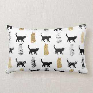 Kitty Cats in Gold and Black and White Marble Lumbar Pillow