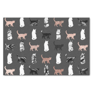Kitty Cats in Rose Gold and Black and White Marble Tissue Paper