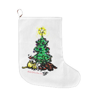 #Kitty #Christmas | #jWe | #Holidays & Beyond Large Christmas Stocking