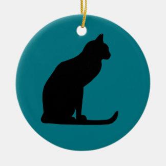 Kitty Christmas Round Ceramic Ornament