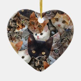 Kitty Collage Ceramic Ornament