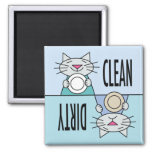 Kitty dishwasher clean dirty fridge magnet