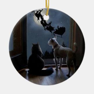 Kitty, Dog and Santa Christmas Ornament