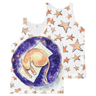 Kitty Dreaming Amongst the Moon and Stars All-Over-Print Tank Top