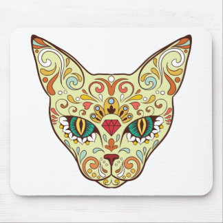 Kitty Face Sugar Skull | Day of the Dead Cat Mouse Pad