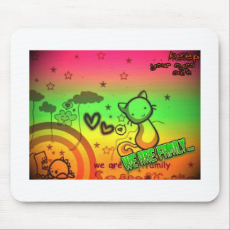 kitty family mouse pad