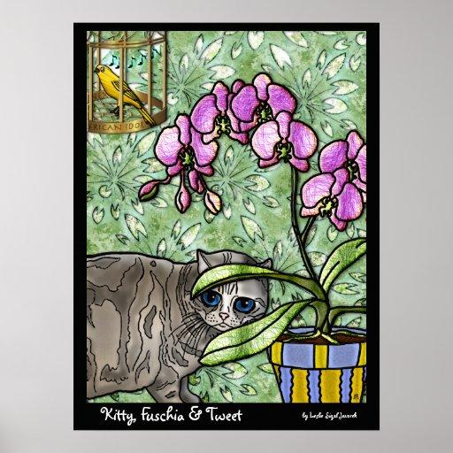 Kitty, Fuschia & Tweet (Fine Art Poster)