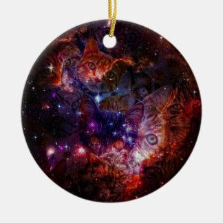 Kitty Galaxy Round Ceramic Ornament