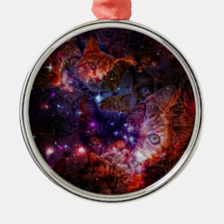 Kitty Galaxy Silver-Colored Round Ornament