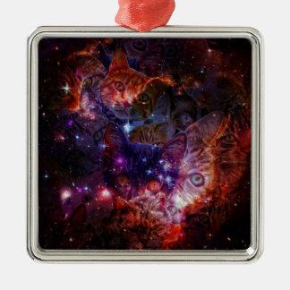 Kitty Galaxy Silver-Colored Square Ornament