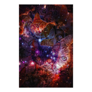 Kitty Galaxy Stationery Paper