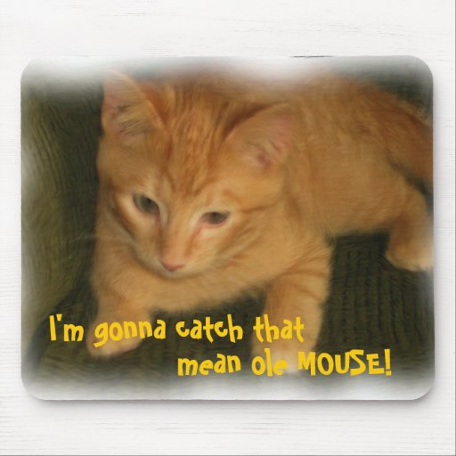 Kitty 'Gonna catch that mean ole MOUSE' Mousepad