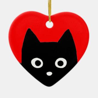 Kitty Heart Ceramic Ornament