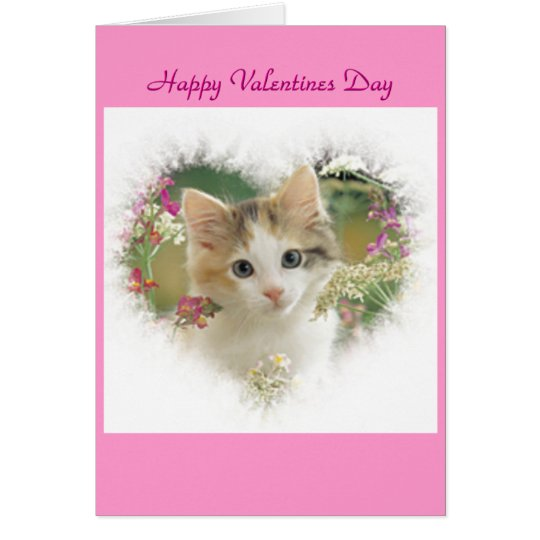 kitty heart valentines Day card