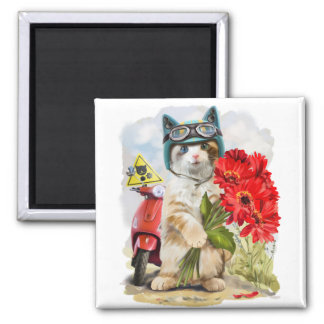 Kitty holding a bouquet of red flowers square magnet