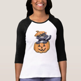 Kitty in a Pumpkin T-Shirt