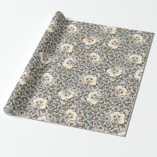 Kitty in the flower bed wrapping paper