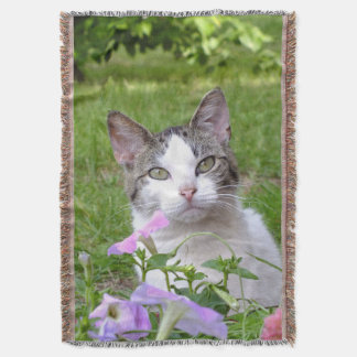 Kitty in the Flowers Throw Blanket