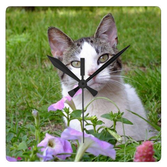 Kitty in the Petunias Wall Clock