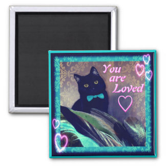 Kitty Inspirations Magnet black cat loved