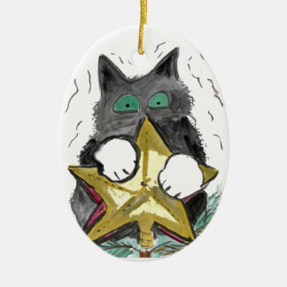 Kitty is at Top of the Christmas Tree Ceramic Ornament