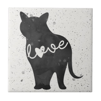 Kitty Kat Love Watercolor Silhouette Tile