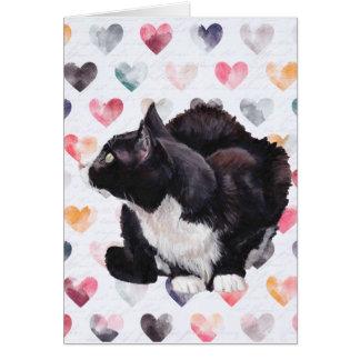 Kitty Love Tuxedo Cat Art Greeting Card