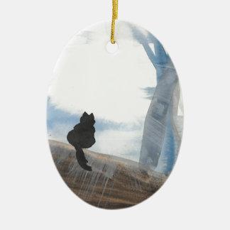 Kitty On A Misty Morning Ceramic Ornament