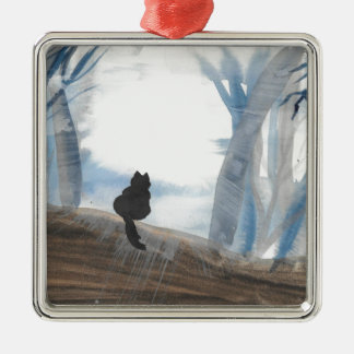 Kitty On A Misty Morning Silver-Colored Square Ornament