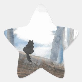 Kitty On A Misty Morning Star Sticker