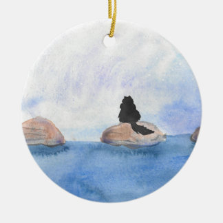 Kitty On Stepping Stones Ceramic Ornament