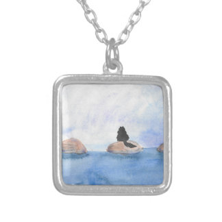 Kitty On Stepping Stones Silver Plated Necklace