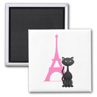 Kitty on vacation in Paris Square Magnet