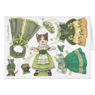 Kitty Paper Doll St. Patrick's Day Card
