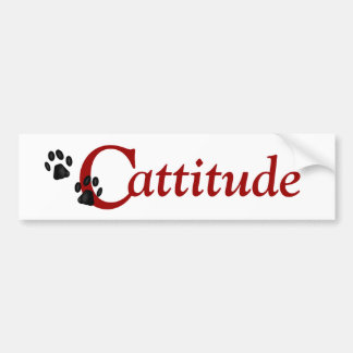 Kitty Paws Cattitude Bumper Sticker
