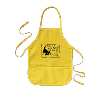 KITTY PLAYING WITH COMPUTER MOUSE KIDS' APRON