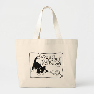 KITTY PLAYING WITH KNITTING COMPUTER MOUSE TOTE BAG