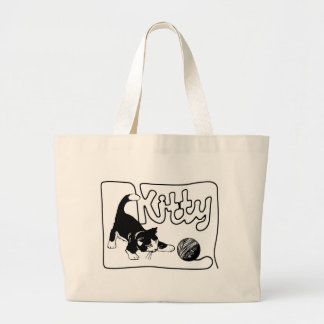 KITTY PLAYING WITH KNITTING THREAD BAG