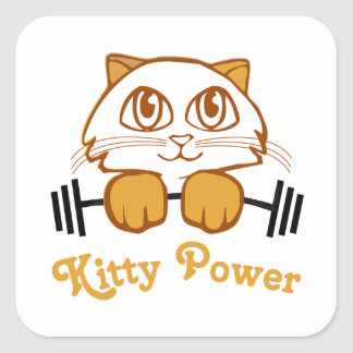 Kitty Power Square Sticker