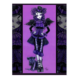 Kitty Purple Gothic Cat Victorian Angel Postcard