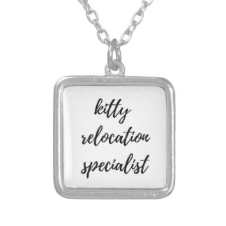 Kitty Relocation Specialist Silver Plated Necklace